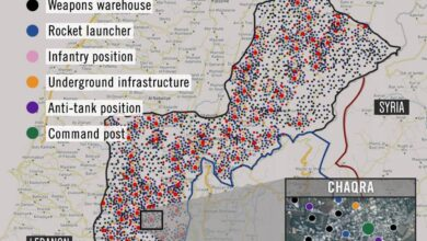 صورة خريطة ترفع السرية عن مواقع تموضع حزب الله و بناه التحتية في الداخل اللبناني