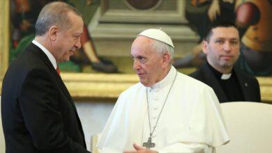 صورة أردوغان للبابا: العدوان الإسرائيلي يستهدف المسلمين و المسيحيين