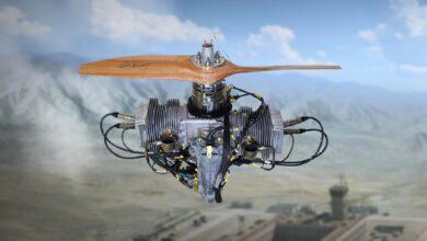 صورة شاهد : محرك طيران شركة TEI ثنائي الأشواط : TEI-PG50