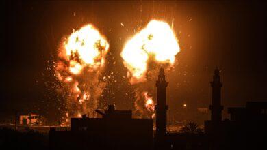 صورة مقاتلات إسرائيلية تشن سلسلة غارات على قطاع غزة